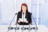 Businesswoman Giving Speech At Conference — Stock Photo