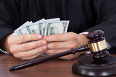 Judge Counting Banknotes — Stock Photo