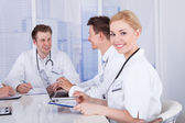 Female Doctor In Conference Meeting — Stock Photo