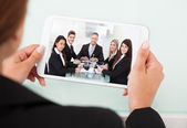 Businesswoman Video Conferencing — Stock Photo