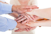 Friends With Hands Stacked Together — Stock Photo