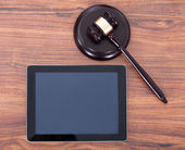 Judge Mallet and Digital Tablet — Stock Photo