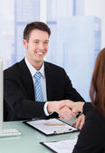 Businessman Shaking Hand Of Female — Stock Photo