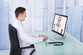 Doctor Video Conferencing — Stock Photo