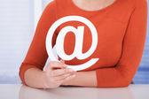 Woman Holding Internet Symbol — Stock Photo
