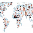 Multiethnic Business People On World Map — Stock Photo #50348159