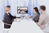 Businesspeople In Video Conference — Stock Photo