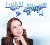 Businesswoman and World Map — Stock Photo