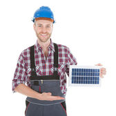 Repairman Holding Solar Panel — Stock Photo