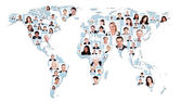 Multiethnic Business People On World Map — Stock Photo