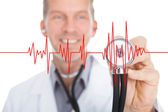 Doctor Listening Heartbeat — Stock Photo