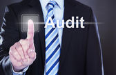 Businessman Touching Audit Button — Stockfoto