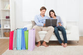 Couple Shopping Online — Stock Photo