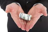 Businessman Holding Tied Dollar — Foto Stock