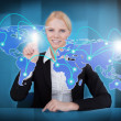 Businesswoman Touching Connected World Map — Stock Photo #51171123