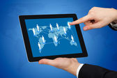 Businessman Touching World Map On Digital Tablet — Stock Photo