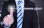 Businessman Pressing Business Plan Button — Stock Photo