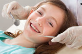 Happy Girl Dental Treatment — Stock Photo