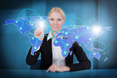 Businesswoman Touching Connected World Map — Stock Photo