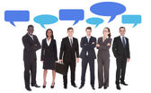 Multiethnic Business People With Speech Bubbles — Stock Photo