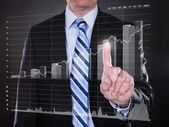 Businessman Touching Transparent Screen — Stock Photo