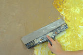 Plaster filling wall repair decoration — Stock Photo