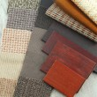 Upholstery and color wood samples — Stock Photo