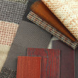 Stock Photo: Upholstery texture color and wood samples,decoration planning