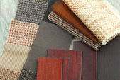 Upholstery texture color and wood samples,decoration planning — Stock Photo