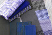 Upholstery tapestry and blinds color selection — Stock Photo