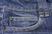 Blue denim jeans with pocket texture — Stock Photo