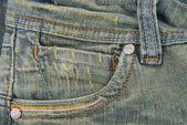 Textura de bolsillo los pantalones vaqueros del dril de algodón — Foto de Stock