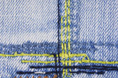 Blue denim jeans seam texture — Stock Photo