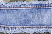 青いデニム ジーンズ縫い目ラベル テクスチャ — ストック写真