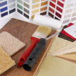 Paint and material color choosing for interior decoration — Stock Photo
