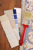 Upholstery and paint color choosing for interior — Stock Photo