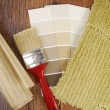 Stock Photo: Color paint wallpaper and carpet choice for interior