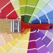 Color guide sampler and paintbrush — Zdjęcie stockowe #33085117