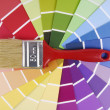 Stock Photo: Color guide sampler and paintbrush