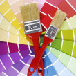 Color guide sampler and paintbrush — Stock Photo