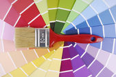 Color guide sampler and paintbrush — Stok fotoğraf