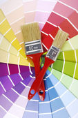 Color guide sampler and paintbrush — Stock fotografie