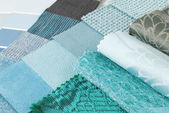 Upholstery tapestry and curtain color selection for interior — Foto de Stock