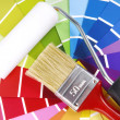 Color guide sampler and paintbrush — Stock Photo #33889669