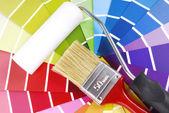 руководство цветопередачи и кисть — Стоковое фото