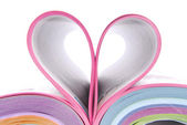 Magazine catalog folded heart — Stock Photo