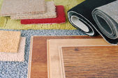 Carpet and laminate choice for interior — Stock fotografie