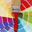 Stok fotoğraf: Color guide sampler and paintbrush