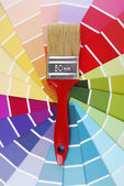 Color guide sampler and paintbrush — ストック写真