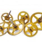 Parts of clockwork isolated on white — Stock Photo